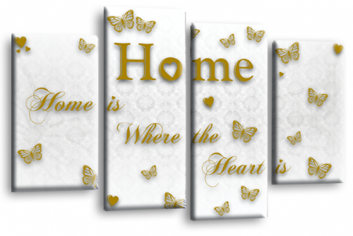 Home Quote Wall Art Print White Gold Love Split Picture